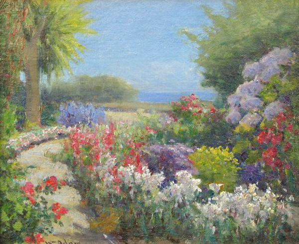 "WILLIAM CONSTABLE ADAM - Pacific Grove Garden - Oil on Board - 10"" x 11"""