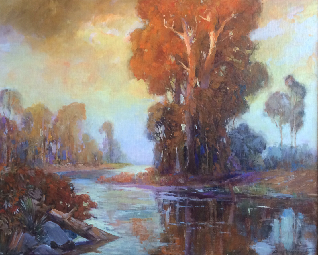 "GEORGE DEMONT OTIS - ""BAYOU NEAR HOUSTON"" - Oil on Canvas - 23 7/8"" x 29 3/4"""
