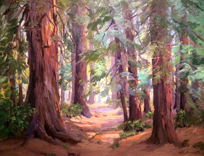 "GEORGE DEMONT OTIS - ""CAMP TAYLOR REDWOODS, 1940"" - Oil - 28"" x 36"""