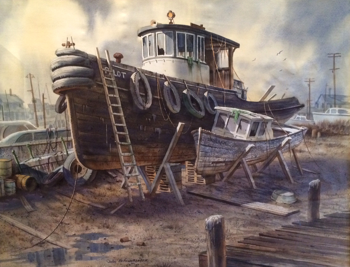 "John Bohnenberger - The Old Boatyard - Watercolor - 21"" x 27"""