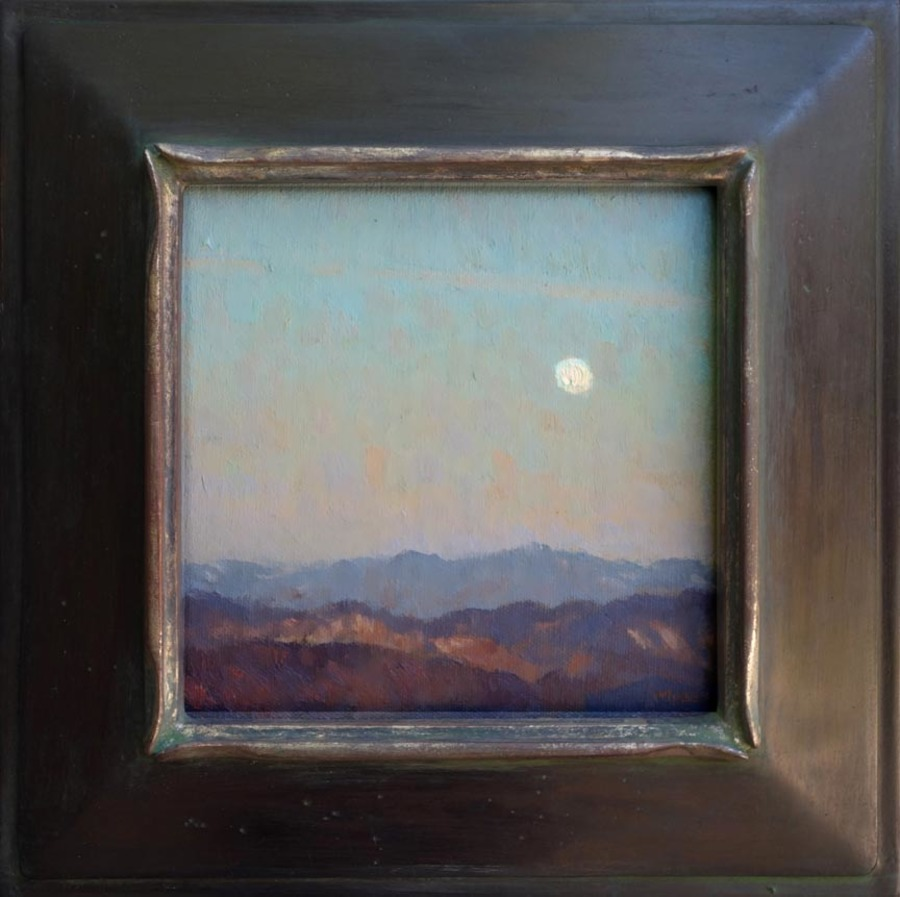 "Jennifer Moses - ""Moon Over Mountains"" - Oil - 7 1/2"" x 7 1/2"""