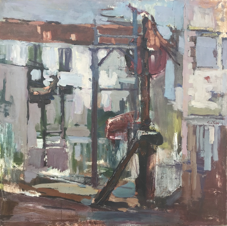 "S.C. YUAN - ""Cannery Row"" - Oil - 36"" x 36"""