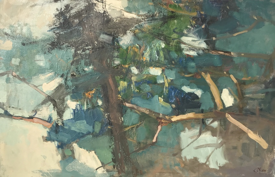 "S.C. YUAN - ""Abstract of Pines"" - Oil - 32"" x 48"""