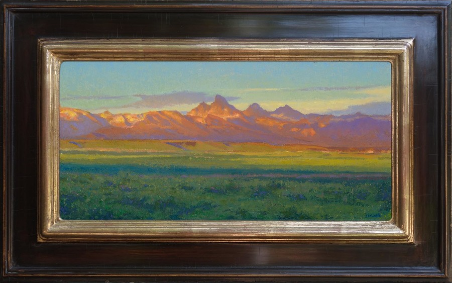 "Jennifer Moses - ""Golden Hour, Teton Valley"" - Oil - 7"" x 14"""