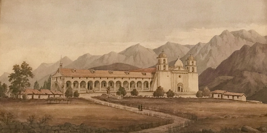 "HENRY CHAPMAN FORD - ""Santa Barbara Mission"" - Watercolor and graphite - 12"" x 20"""
