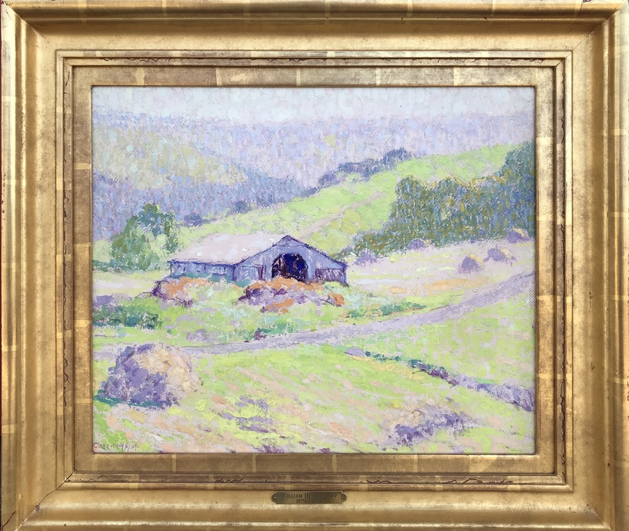 "WILLIAM HENRY CLAPP - ""Barn and Haystacks"" - Oil on Board - 15"" x 18"""