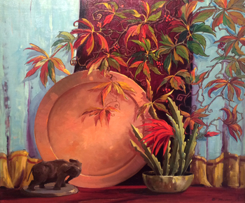 "GEORGE DEMONT OTIS - ""COPPER ELEPHANT AND LEAVES"" - Oil on Canvas - 30 1/8"" x 35 7/8"""