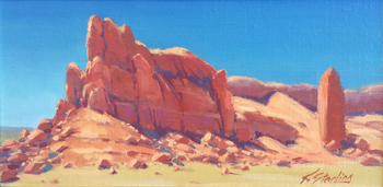 "KATE STARLING - ""Red Butte"" - Oil on Board - 8"" x 16"""