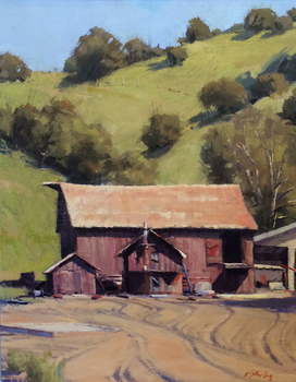 "KATE STARLING - ""Barns"" - Oil on Board - 20"" x 16"""