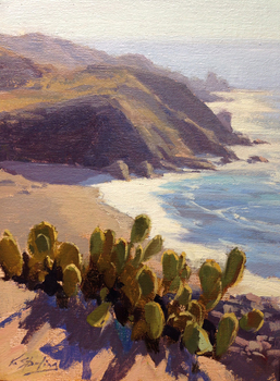 "KATE STARLING - ""Cactus Overlook"" - oil on linen on board - 12"" x 9"""