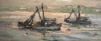 "S.C. YUAN - ""Fishing Boats"" - Oil - 11"" x 27"""