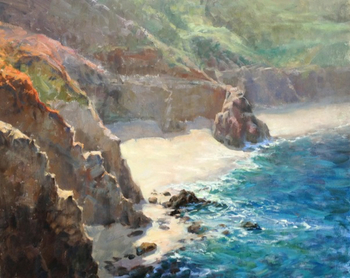 "STACY BARTER - ""On The Cliffs at Big Sur"" - oil on linen - 24"" x 30"""