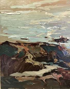 "S.C. YUAN - ""Seascape"" - Oil on Board - 11 7/8"" x 9 1/2"""