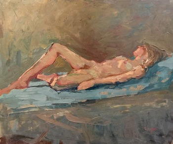 "S.C. YUAN - ""Reclining Nude"" - Oil on Board - 20"" x 24"""