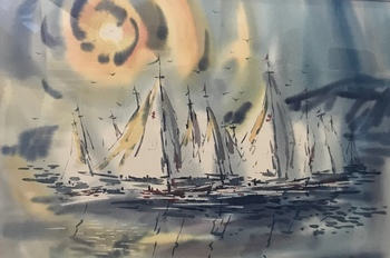 "EDWARD NORTON WARD - ""Monterey Yacht Club at Sunset"" - Watercolor - 20"" x 30"""