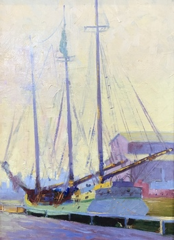 "GEORGE DEMONT OTIS - ""Chicago Harbor"" - Oil - 19"" x 14"""