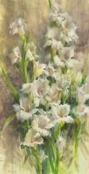 "STACY BARTER - ""Glorious Gladiolus"" - Oil - 24"" x 12"""