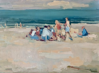 "S.C. YUAN - ""Carmel Beach"" - Oil on Canvas - 22 3/4"" x 32 1/2"""