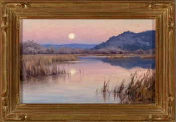 "JESSE POWELL - ""Carmel River Moonrise"" - Oil - 10"" x 16"""