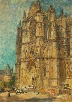 "COLIN CAMPBELL COOPER - ""Beauvais Cathedral"" - Watercolor - 30"" x 22"""